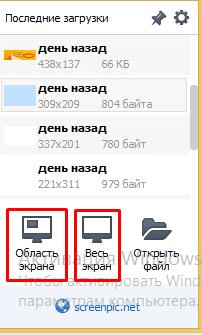 выбор типа снимка экрана