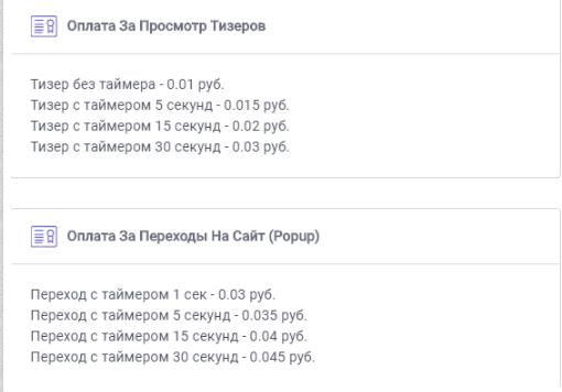 расценки для пользователей при трансляции рекламы в их браузеры