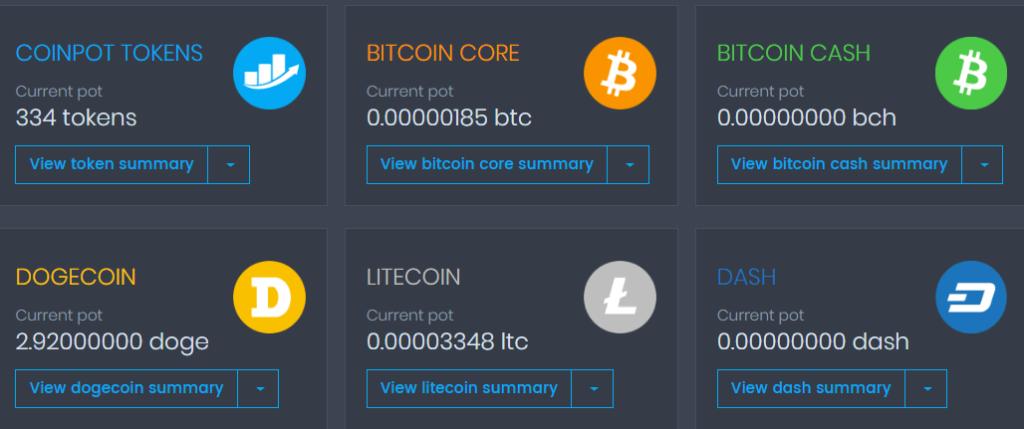 пять представленных криптовалют в кошельке COINPOT для вывода