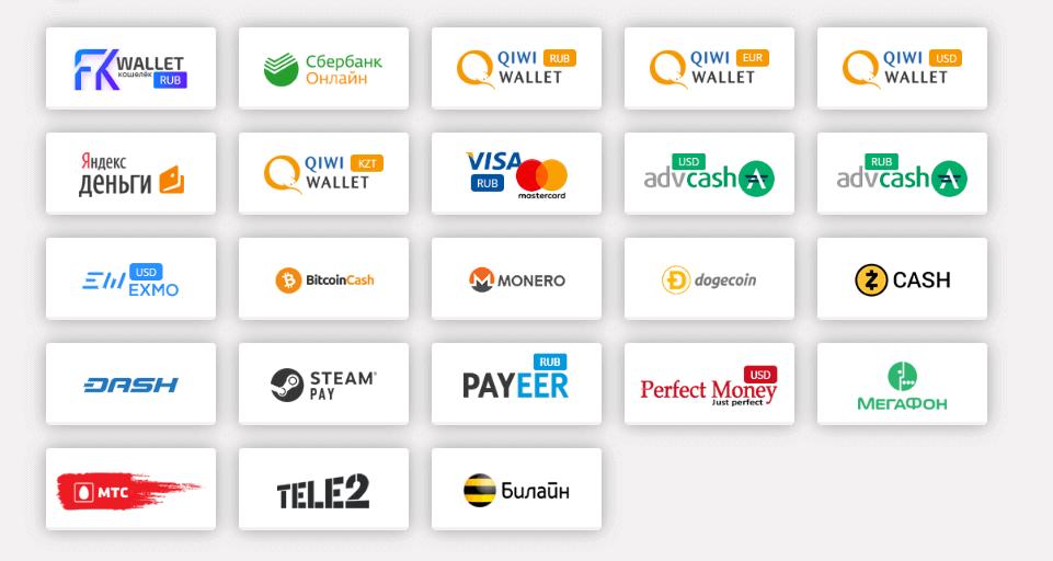 платежные системы в сервисе Free kassa
