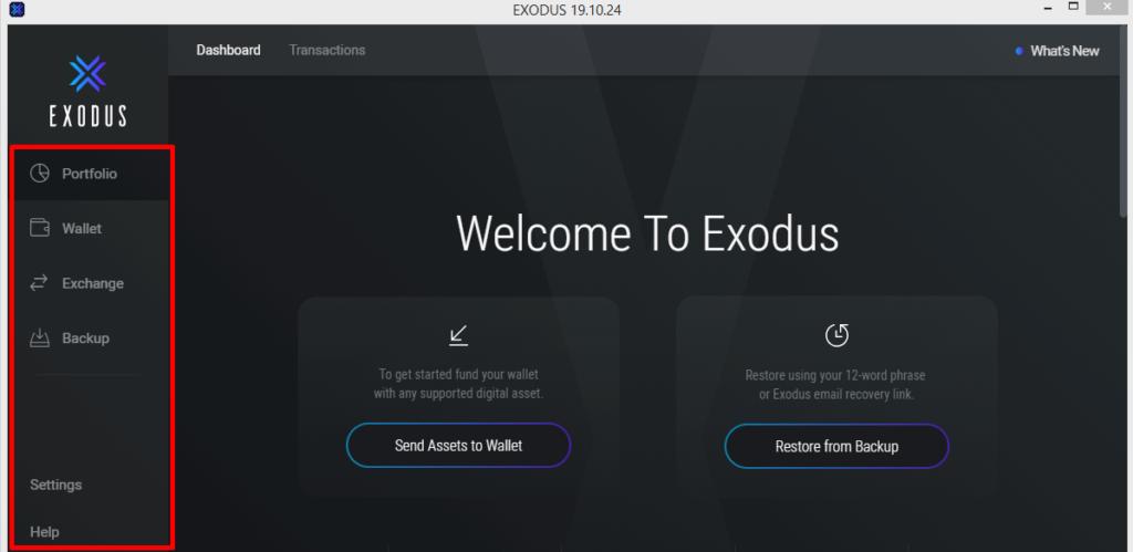 боковая панель управления кошелька exodus