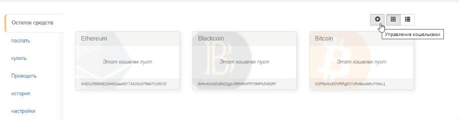кнопка добавления криптовалют в кошельке holytransaction