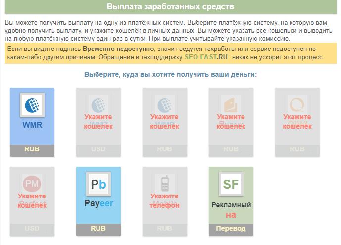электронные кошельки для вывода средств из проекта