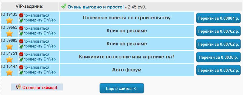 """сайты из раздела """"клики"""""""