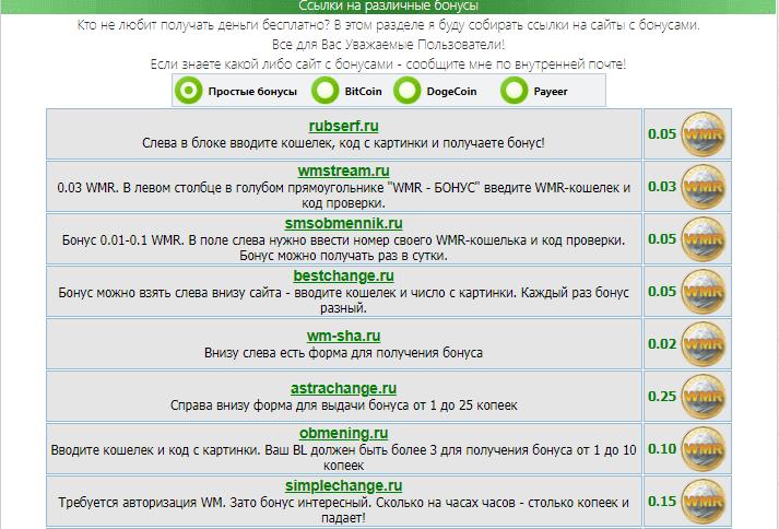 сайты для получения бонусов