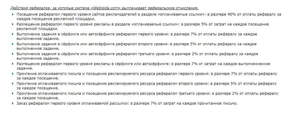 как и за что начисляются реферальные проценты на webisida