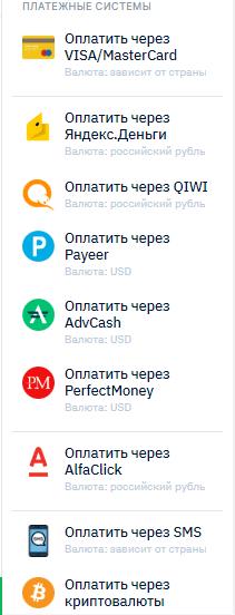 платежные системы для ввода средств