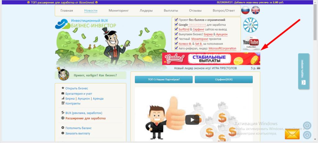 рекламный баннер по центру страницы сайта bizoninvest