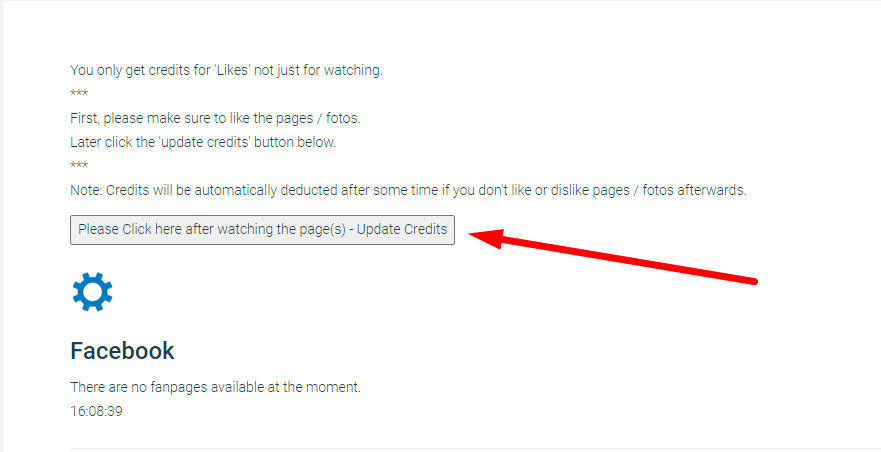 кнопка для зачисления кредитов на fanslave