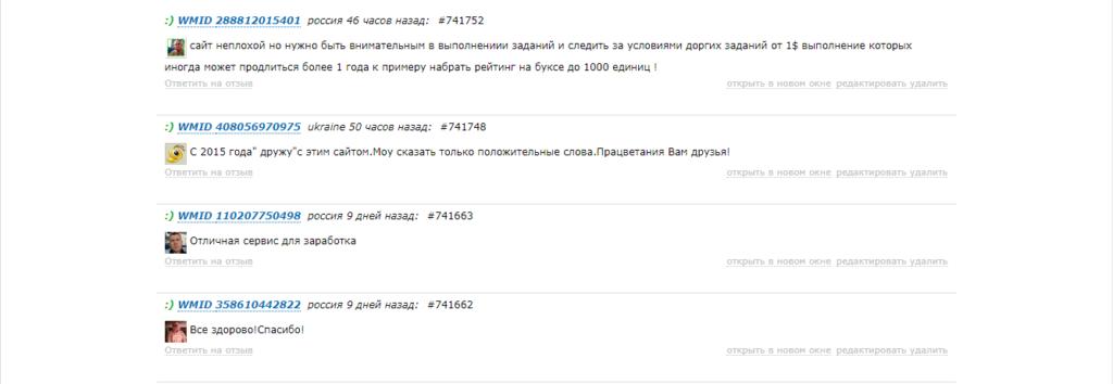 отзывы пользователей о сайте