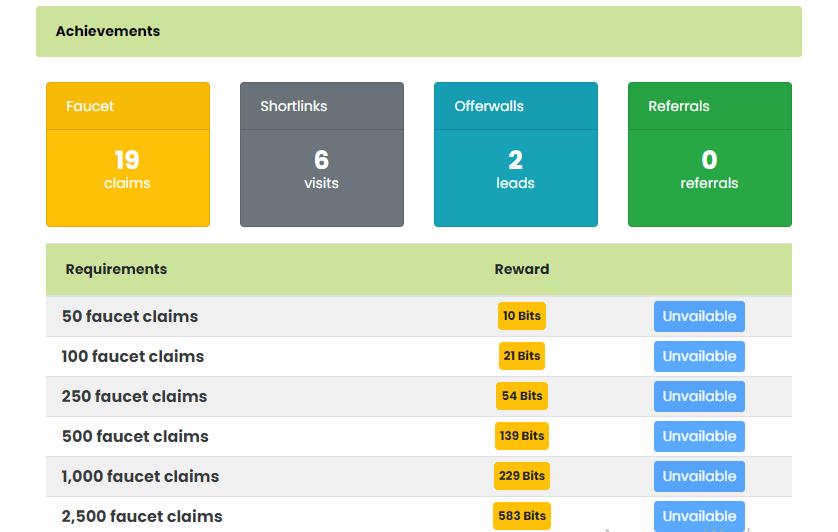 бонусы за выполненные действия на сайте
