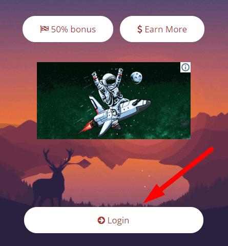 """кнопка """"login"""" для начала сбора криптовалюты на сайте konstantinova"""