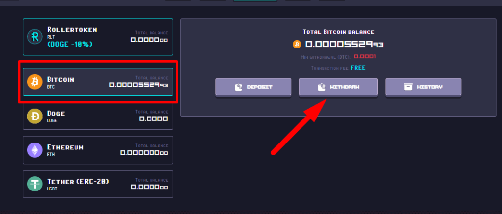 кнопка withdraw для вывода монет из проекта Rollercoin