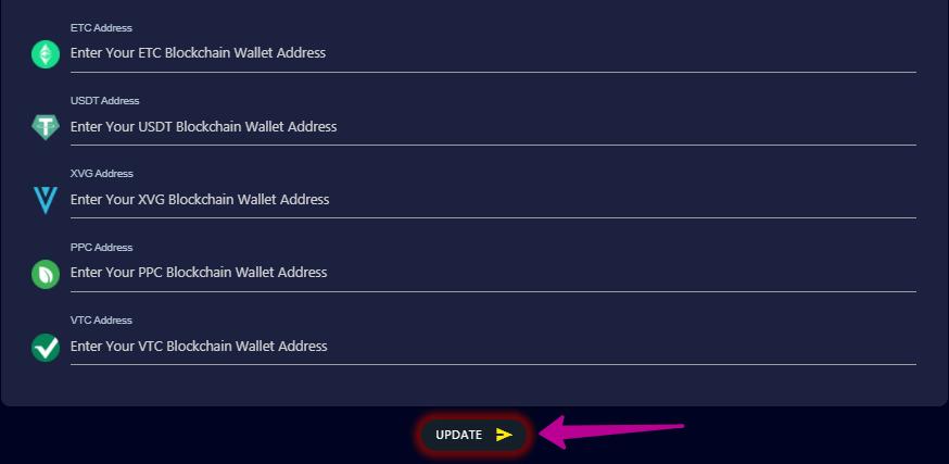 кнопка для сохранения адресов кошельков