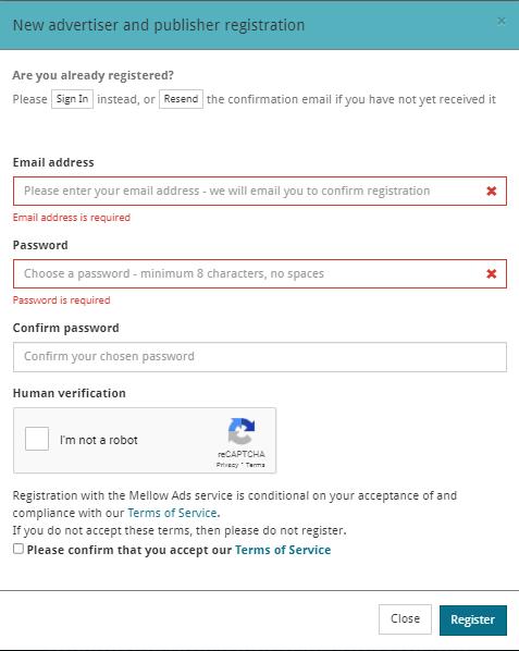 форма для регистрации на проекте mellow ads