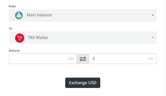 перевод средств с основного баланса на выбранную вами криптовалюту