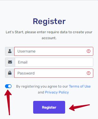 форма регистрации пользователя SkyBtc