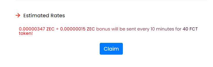 """примерная сумма получения криптовалюты за один """"claim"""""""